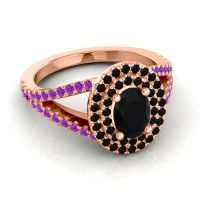 Ornate Oval Halo Dhala Black Onyx Ring with Amethyst in 14K Rose Gold
