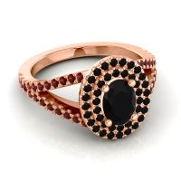 Ornate Oval Halo Dhala Black Onyx Ring with Garnet in 18K Rose Gold