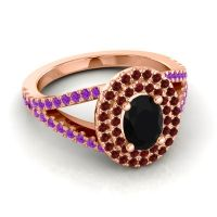 Ornate Oval Halo Dhala Black Onyx Ring with Garnet and Amethyst in 14K Rose Gold