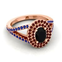 Ornate Oval Halo Dhala Black Onyx Ring with Garnet and Blue Sapphire in 14K Rose Gold