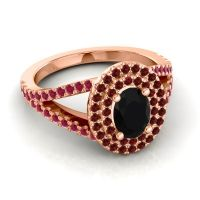 Ornate Oval Halo Dhala Black Onyx Ring with Garnet and Ruby in 14K Rose Gold