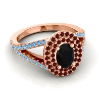 Ornate Oval Halo Dhala Black Onyx Ring with Garnet and Swiss Blue Topaz in 18K Rose Gold