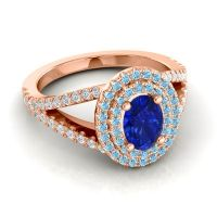 Ornate Oval Halo Dhala Blue Sapphire Ring with Aquamarine and Diamond in 18K Rose Gold