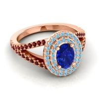 Ornate Oval Halo Dhala Blue Sapphire Ring with Aquamarine and Garnet in 14K Rose Gold