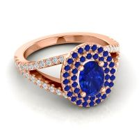 Ornate Oval Halo Dhala Blue Sapphire Ring with Diamond in 18K Rose Gold