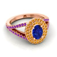 Ornate Oval Halo Dhala Blue Sapphire Ring with Citrine and Amethyst in 18K Rose Gold