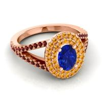 Ornate Oval Halo Dhala Blue Sapphire Ring with Citrine and Garnet in 18K Rose Gold