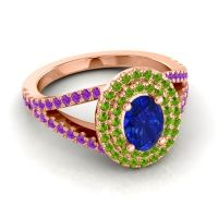 Ornate Oval Halo Dhala Blue Sapphire Ring with Peridot and Amethyst in 18K Rose Gold