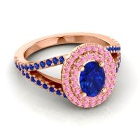 Ornate Oval Halo Dhala Blue Sapphire Ring with Pink Tourmaline in 14K Rose Gold