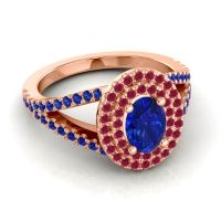 Ornate Oval Halo Dhala Blue Sapphire Ring with Ruby in 18K Rose Gold