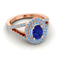 Ornate Oval Halo Dhala Blue Sapphire Ring with Swiss Blue Topaz and Aquamarine in 18K Rose Gold