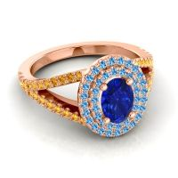 Ornate Oval Halo Dhala Blue Sapphire Ring with Swiss Blue Topaz and Citrine in 18K Rose Gold