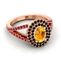 Ornate Oval Halo Dhala Citrine Ring with Black Onyx and Ruby in 14K Rose Gold