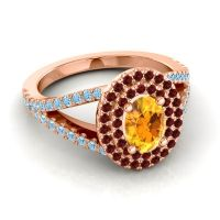 Ornate Oval Halo Dhala Citrine Ring with Garnet and Aquamarine in 18K Rose Gold