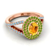 Ornate Oval Halo Dhala Citrine Ring with Peridot and Aquamarine in 14K Rose Gold