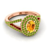 Ornate Oval Halo Dhala Citrine Ring with Peridot in 14K Rose Gold