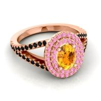 Ornate Oval Halo Dhala Citrine Ring with Pink Tourmaline and Black Onyx in 14K Rose Gold