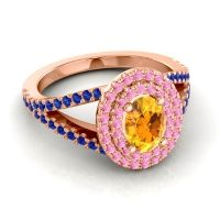 Ornate Oval Halo Dhala Citrine Ring with Pink Tourmaline and Blue Sapphire in 14K Rose Gold