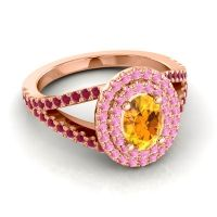 Ornate Oval Halo Dhala Citrine Ring with Pink Tourmaline and Ruby in 18K Rose Gold