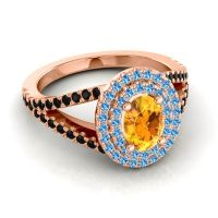Ornate Oval Halo Dhala Citrine Ring with Swiss Blue Topaz and Black Onyx in 14K Rose Gold