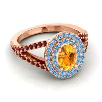 Ornate Oval Halo Dhala Citrine Ring with Swiss Blue Topaz and Garnet in 18K Rose Gold