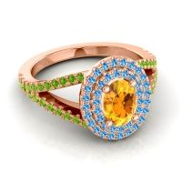 Ornate Oval Halo Dhala Citrine Ring with Swiss Blue Topaz and Peridot in 14K Rose Gold