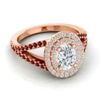 Ornate Oval Halo Dhala Diamond Ring with Garnet in 14K Rose Gold