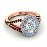 Ornate Oval Halo Dhala Diamond Ring with Swiss Blue Topaz and Black Onyx in 18K Rose Gold