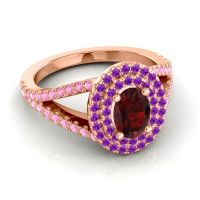 Ornate Oval Halo Dhala Garnet Ring with Amethyst and Pink Tourmaline in 18K Rose Gold