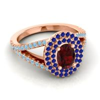 Ornate Oval Halo Dhala Garnet Ring with Blue Sapphire and Aquamarine in 18K Rose Gold
