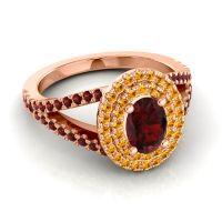 Ornate Oval Halo Dhala Garnet Ring with Citrine in 14K Rose Gold
