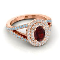Ornate Oval Halo Dhala Garnet Ring with Diamond and Aquamarine in 14K Rose Gold