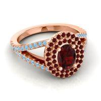Ornate Oval Halo Dhala Garnet Ring with Aquamarine in 18K Rose Gold