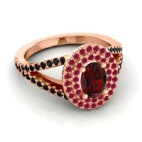 Ornate Oval Halo Dhala Garnet Ring with Ruby and Black Onyx in 14K Rose Gold