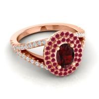 Ornate Oval Halo Dhala Garnet Ring with Ruby and Diamond in 14K Rose Gold