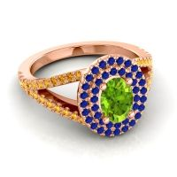 Ornate Oval Halo Dhala Peridot Ring with Blue Sapphire and Citrine in 14K Rose Gold