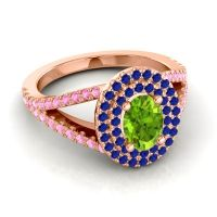 Ornate Oval Halo Dhala Peridot Ring with Blue Sapphire and Pink Tourmaline in 14K Rose Gold