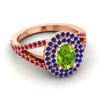 Ornate Oval Halo Dhala Peridot Ring with Blue Sapphire and Ruby in 14K Rose Gold