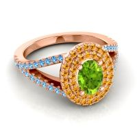 Ornate Oval Halo Dhala Peridot Ring with Citrine and Swiss Blue Topaz in 14K Rose Gold