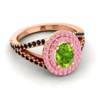 Ornate Oval Halo Dhala Peridot Ring with Pink Tourmaline and Black Onyx in 18K Rose Gold