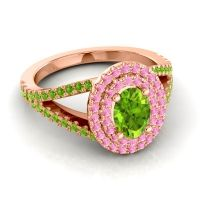 Ornate Oval Halo Dhala Peridot Ring with Pink Tourmaline in 14K Rose Gold
