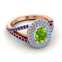 Ornate Oval Halo Dhala Peridot Ring with Swiss Blue Topaz and Blue Sapphire in 18K Rose Gold