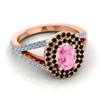 Ornate Oval Halo Dhala Pink Tourmaline Ring with Black Onyx and Swiss Blue Topaz in 14K Rose Gold