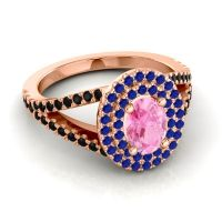 Ornate Oval Halo Dhala Pink Tourmaline Ring with Blue Sapphire and Black Onyx in 18K Rose Gold