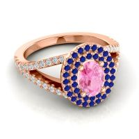 Ornate Oval Halo Dhala Pink Tourmaline Ring with Blue Sapphire and Diamond in 18K Rose Gold