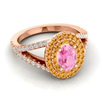 Ornate Oval Halo Dhala Pink Tourmaline Ring with Citrine and Diamond in 14K Rose Gold
