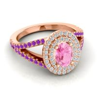 Ornate Oval Halo Dhala Pink Tourmaline Ring with Diamond and Amethyst in 14K Rose Gold