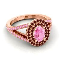 Ornate Oval Halo Dhala Pink Tourmaline Ring with Garnet in 18K Rose Gold