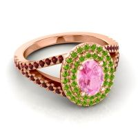 Ornate Oval Halo Dhala Pink Tourmaline Ring with Peridot and Garnet in 14K Rose Gold