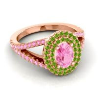 Ornate Oval Halo Dhala Pink Tourmaline Ring with Peridot in 18K Rose Gold